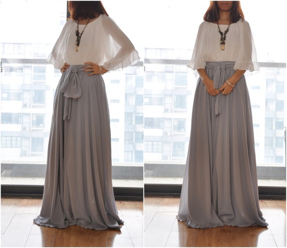 Gray Chiffon Maxi Dress