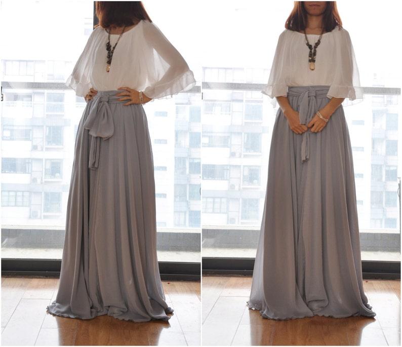 d8b5ae6cabf0 Beautiful Bow Tie Chiffon Maxi Skirt Silk Skirts Gray Elastic | Etsy