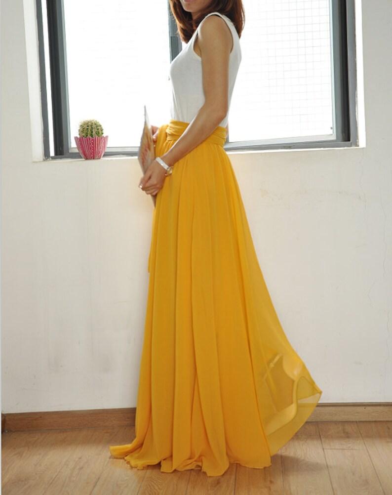 f536f30fa Beautiful Bow Tie Chiffon Maxi Skirt Silk Skirts Yellow | Etsy