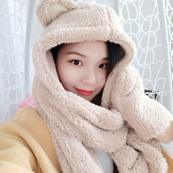 3 In 1 Winter Warm Faux Fur HatFur Scarf Fur Gloves Set For  55d1a2c5e6d4