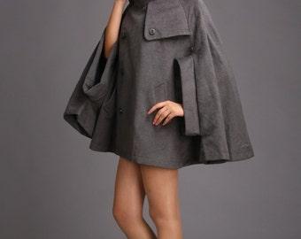 Women's stylish cape grey winter coat cashmere wool coat autumn outerwear