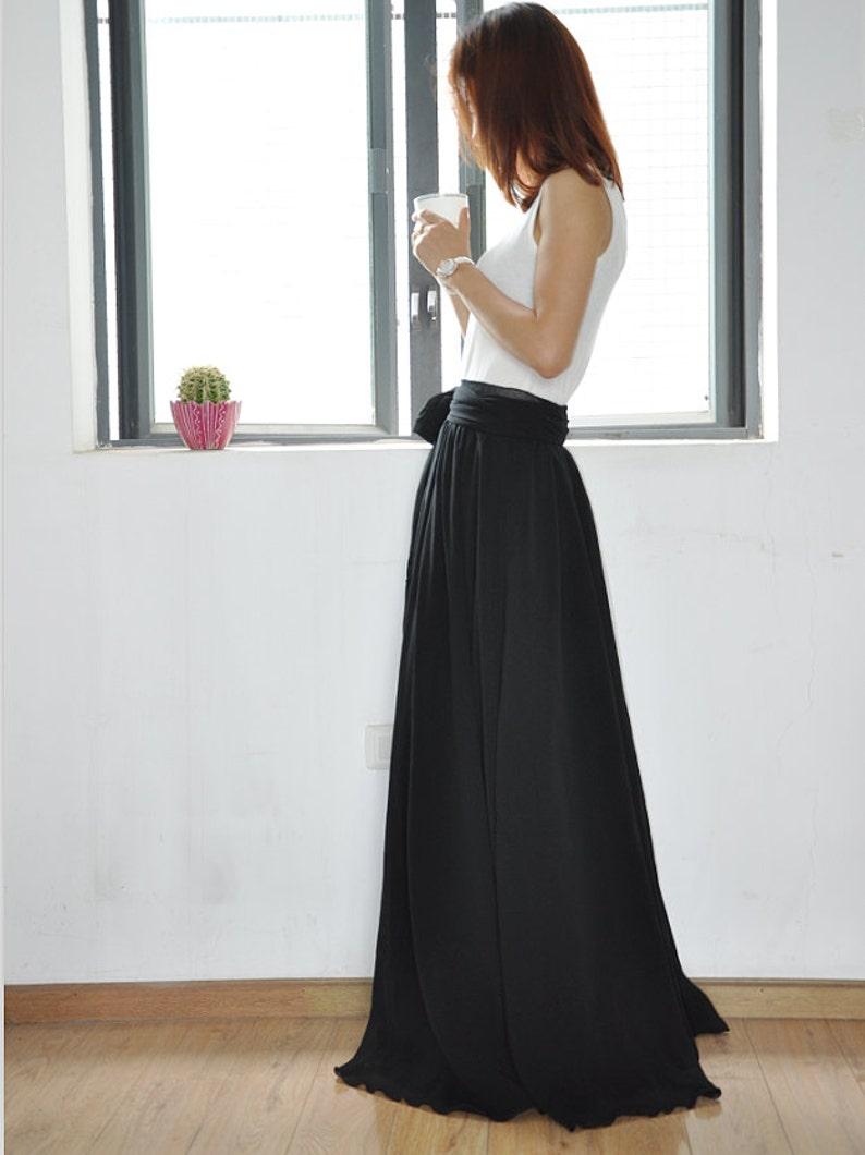 a5944a828d86 Floor Length Black Chiffon Skirt