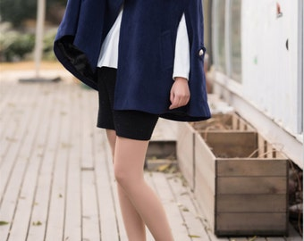 Women's delicate cloak wool coat autumn double breasted woolen winter coat cashmere coat blue outerwear BJ031