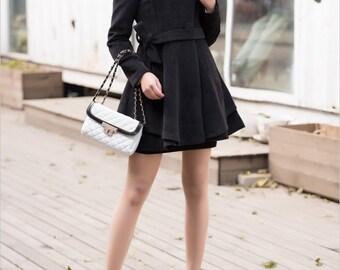 Fitted cape black wool jacket women winter coat wool dress pleated cape coat (01424)