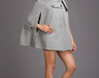 Hooded cape gray winter coat cashmere wool coat autumn outerwear BJ038