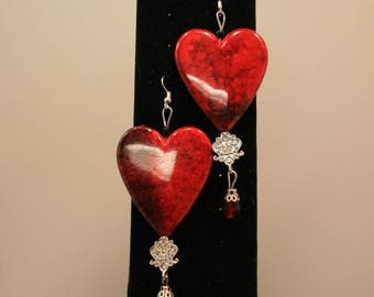 Resin & Marble Heart Earrings with Australian Crystals