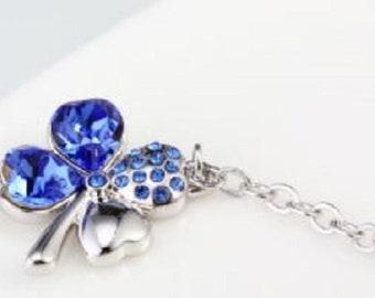Sapphire Blue Colored Four-Leaf Clover Bracelet / Shamrock Bracelet
