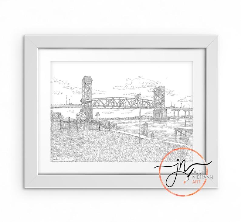 Cape Fear Memorial Bridge Downtown Wilmington Nc Cape Fear River North Carolina Print From Original Art Custom Art Illustration River Walk