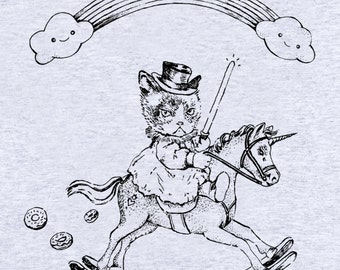 """SWEAT-SHIRT """"L'aventurier de la dernière licorne""""/ grumpy cat/ licorne/ star wars/ donuts/ sweat gris/illustration marrante/ oldschool sweat"""