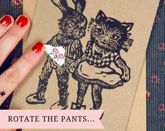 Carte de voeux originale et marrant/ Couple lapin & chat/ impression originale/ culotte rotative pour regarder en-dessous