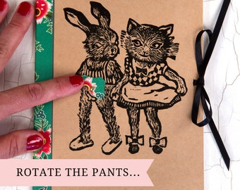 Naughty and funny NOTEBOOK A5/ original gift idea/ Notebook Bunny and Cat/ Notebook Cat/ vintage Notebook/ rotatable pants