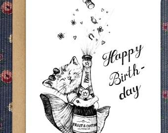 Bon anniversaire/ Carte de voeux/ carte à télécharger/ chat/ champagne/ illustration/ dessin fait main