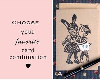 Set de 3 cartes de voeux originales et marrantes/ Motifs à choisir/ impression originale/ culotte rotative pour regarder en-dessous