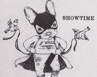 """Funny TOTE BAG """"Showtime""""/ bouledogue/ super-héros/ striptease/ Disney/ tote gris/ illustration marrante/  oldschool/ Paris"""
