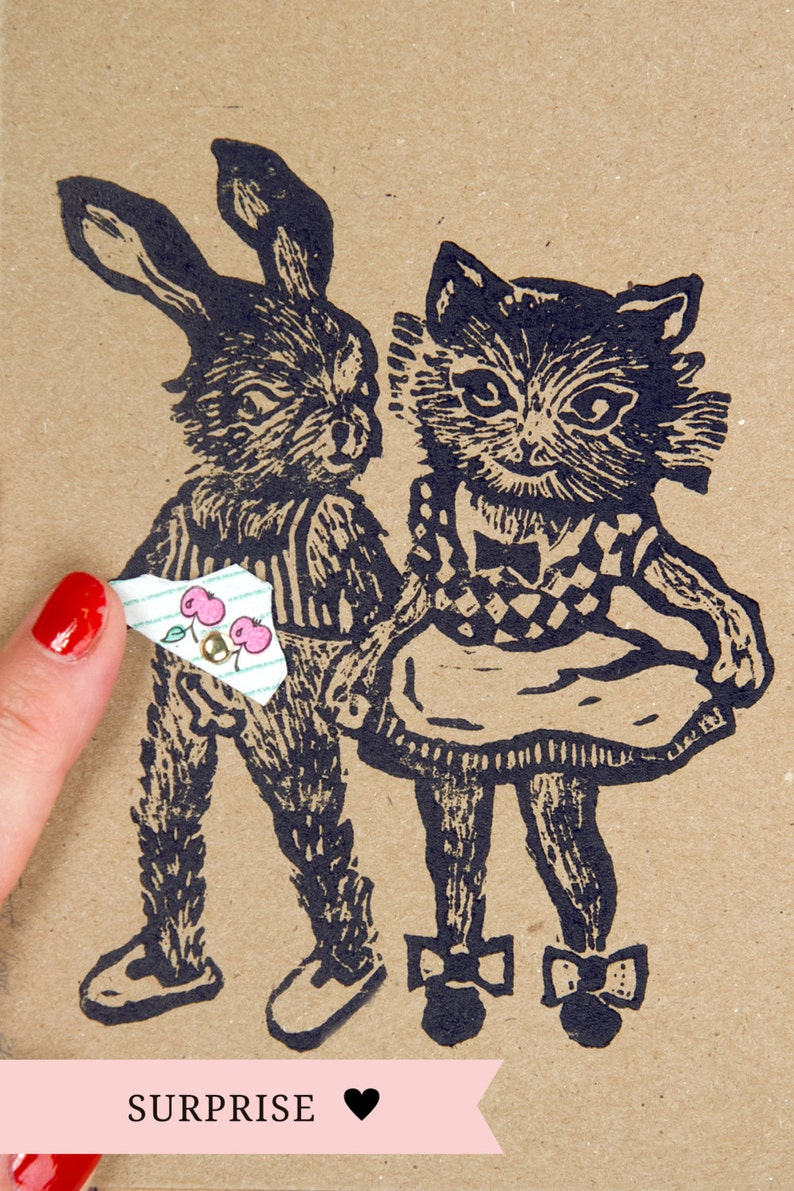 Cheeky greeting card Just because card Get well card Bunny /& kitty original linoprint rotatable pants for a peek underneath