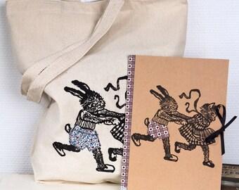 Set de cadeau coquin et marrant TOTE BAG & CAHIER/ Lapin et chat/ surprise caché sous leurs culottes/ customizé