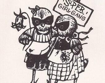 """TOTE BAG mignon """"Super Girlgang""""/ Poulette/ Girlgang/ idée cadeau meilleur amie/ tote amie/ illustration marrante/  oldschool/ Paris"""