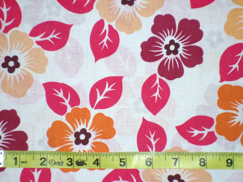 Orange Red Peach Hibiscus Flower Fabric Cranston Prints Etsy