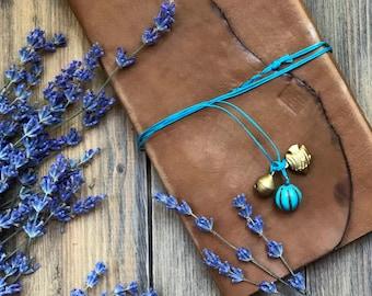 Travel Journal, Travel notebook, Handmade Amber Leather Travel Journal beads