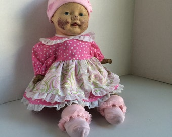 Antique Straw Stuffed and Composite Baby Doll