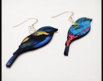 Painted Bunting Birds Reversible Earrings - Migration Birds In Flight Reversible Dangle Earrings