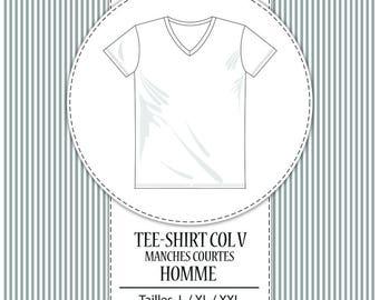 """Patron Tee-shirt homme col /""""V/"""" Au choix: du XS au 3XL Vendu à la taille"""