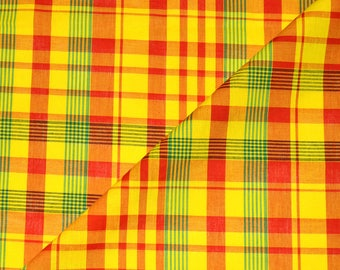 Fabric madras - fabric cotton madras red-yellow-green (in multiples of 20cm)