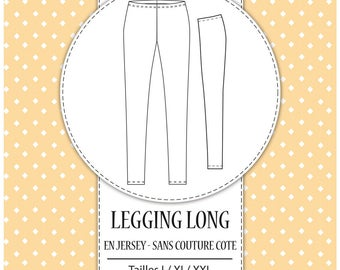 Pack 3 sizes - L, XL and XXL - side leggings women sewing pattern