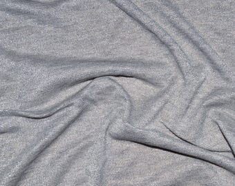 Grey lurex Jersey fabric soft and fine silver (in multiples of 20cm)