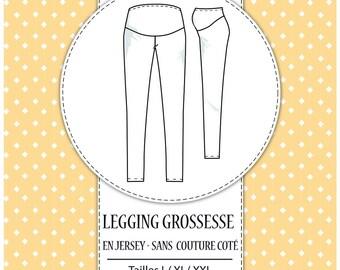 "Pack 3 sizes - L, XL and XXL - ""Pregnancy legging pattern"" mesh"