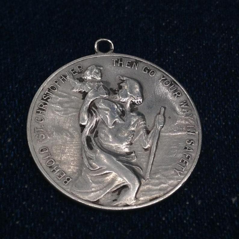b763bac8192 Vintage Large HICKOK St. Christopher Sterling Silver Medallion | Etsy