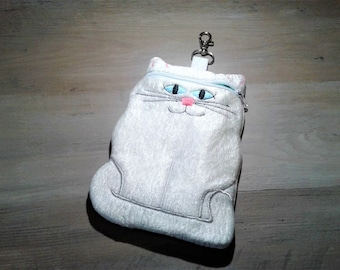 Cat zipper pouch - White Cat- Cute Kitty Cat Coin purse - Cat Purse - Cat  Bag - Cat phone case - Kitten Pouch 3dc7027eec424