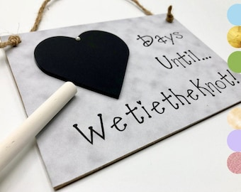 """Personalized Engagement Gift Idea, Wedding Countdown Sign, """"Days Until We Tie The Knot!"""" (Gray) Engagement Gifts For Couple, Chalkboard"""
