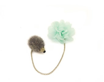 Hedgehog and Flower Double Brooch, Needle Felted grey hedgehog brooch, Organza flower brooch, Collar brooch, Cardigan brooch, Gift for women