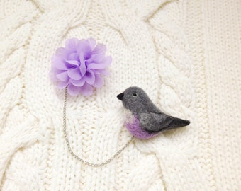 Bird and Flower Double Brooch, Needle Felted bird brooch, Organza flower pin, Chain brooch, Cardigan brooch, Floral summer birthday gift