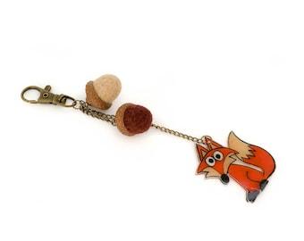 Fox animal keychain, Acorn zipper charm, Shrinck plastic fox charm, Needle felted acorn, Acorn purse charm, Backpack charm, Zipper pull