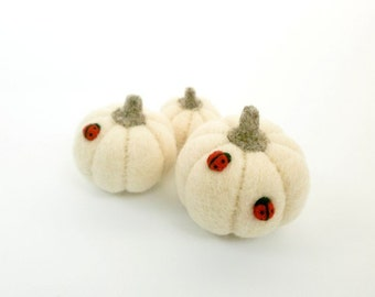 MADE TO ORDER, White pumpkin decoration, Set of 3 felted pumpkins, Red Ladybug, Halloween decor, Miniature vegetables, Thanksgiving, Waldorf