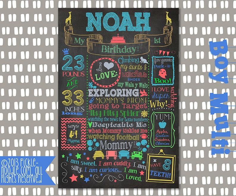 1st Birthday Chalkboard Poster Sign Printable DIGITAL  baby/'s 1st  Baby BOY First Birthday Color  Boy Multi  Plus FREE Web File