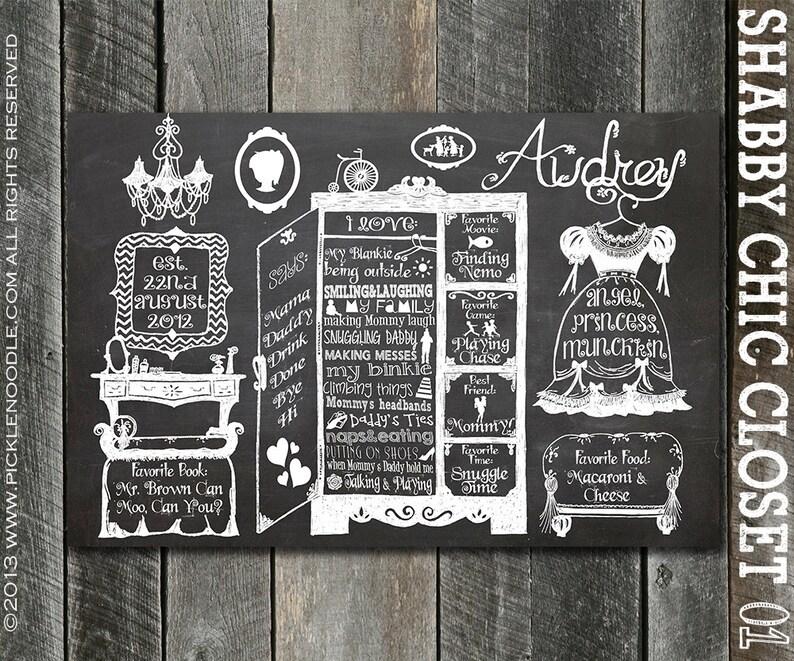 Shabby Chic Nursery Decor  Shabby Chic Decor  1st Birthday Chalkboard Sign  Custom Shabby Chic Birthday Party  Vintage Style  DIGITAL