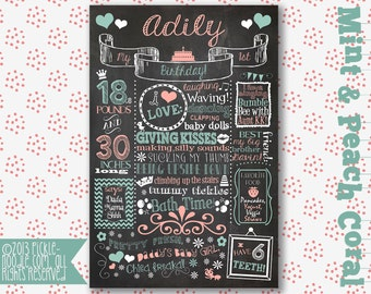 Mint & Peach Coral Birthday Chalkboard - First Year Birthday Chalkboard Sign Poster Printable - Digital Party Chalkboard - Peach Party