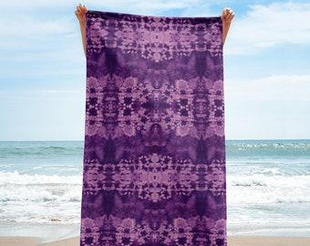 All Over Purple Shibori Printed Towel