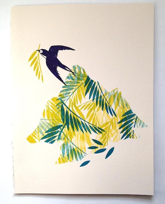 Bird - linocut