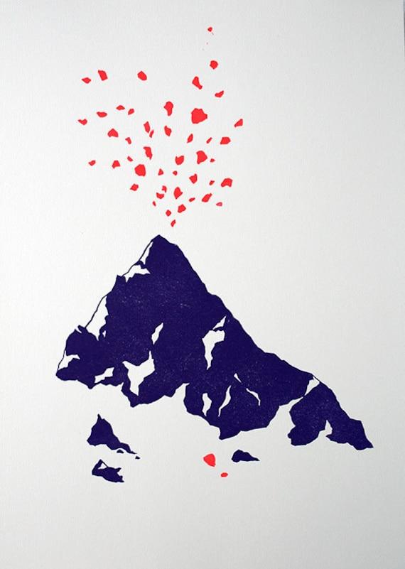 Volcano - linocut