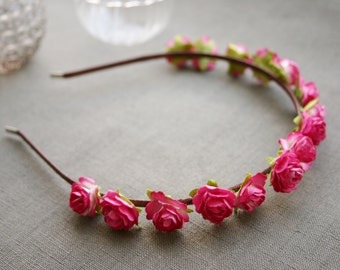 Hairband with pink paper roses, rose, headband, paper flowers, alice band, flower crown, Boho, Hippie, hot pink, magenta, fuschia