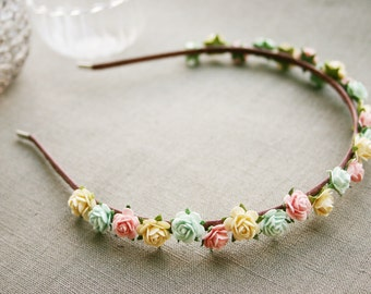 Love me, cupcake! Head band with tiny roses, paper flowers, hair band, candy colours, rose, cream, mint, flower crown