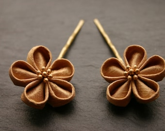 Set of 2 Kanzashi flower hairpins, antique gold, silk dupioni, golden, hairclips, bobby pins, silk flowers