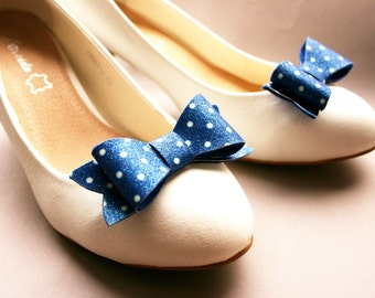 Polka Dots! Bow glitter- shoe clips with Polka Dots, blue & white, bows, royal blue, dotted, rockabella, rockabilly, vintage
