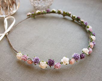 Delicate flower wreath with tiny roses in purple, lilac & white, bridal flower crown, wedding, festival, paper flowers, wreath, bride