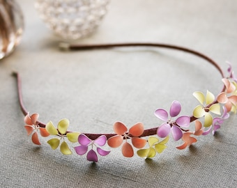 Spring pastels: Alice band with little flowers in nude, lilac and spring green, wedding, bridal, flower girls, headband, hair band