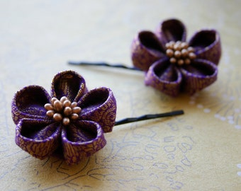 Purple & Gold: Kanzashi flowers made from indian saree brocade, hairpins, hairclips, japanese flower art, hair accessories